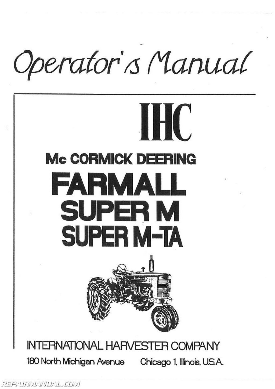 international harvester farmall super mta mvta operators manual rh repairmanual com farmall m operator's manual pdf Farmall M Brake Diagram