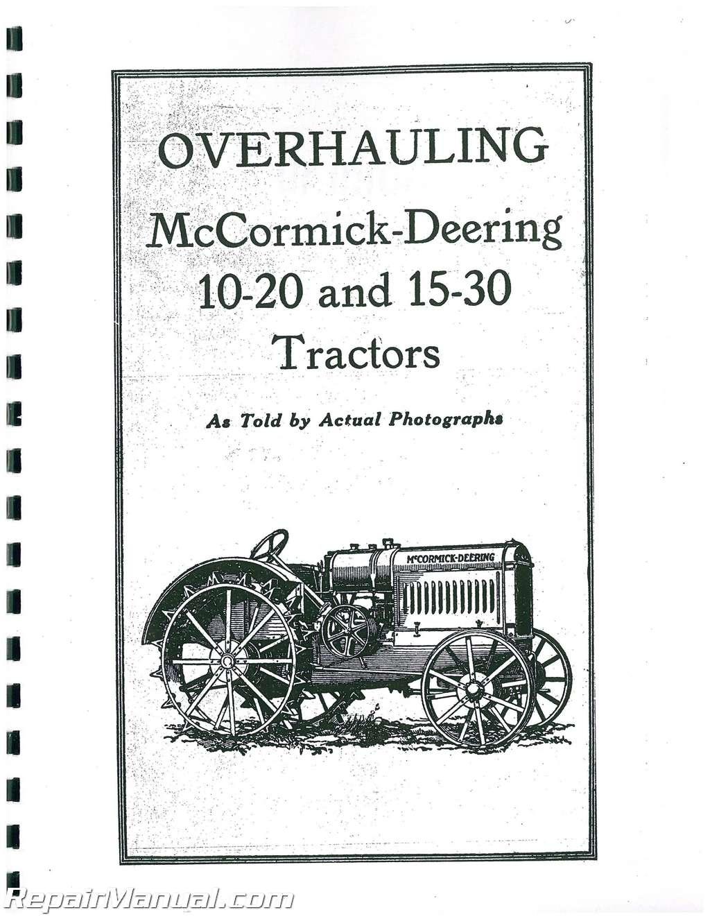 International Harvester McCormick-Deering 10-20 15-30 22-36 Tractor Service  Manual
