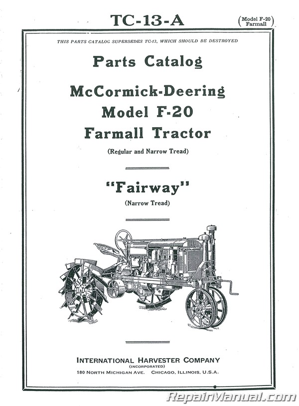 McCORMICK DEERING F-12 TRACTOR INSTRUCTION OPERATORS PARTS MANUAL INTERNATIONAL
