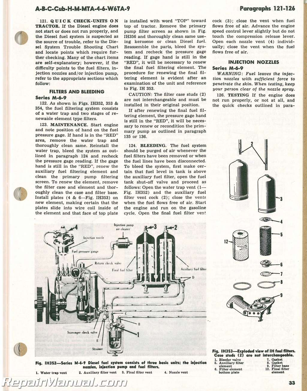 International Harvester Super Non Series A B C Mta H M Md Cub 6 7 Powerstroke Fuel Filter Assembly Prior To 1957 Mtad 4 D6 W6ta W6tad 9 D9 Tractor Manual