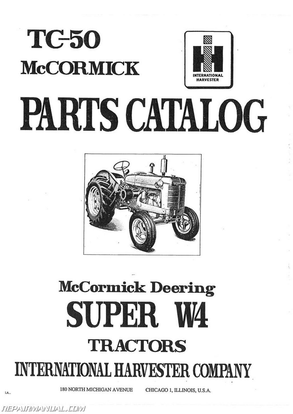 International Harvester Parts : International harvester super w tractor parts manual