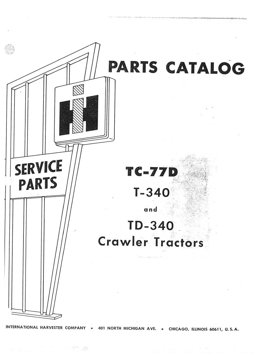 International Harvester T340 Td340 Crawler Tractor Parts Manual
