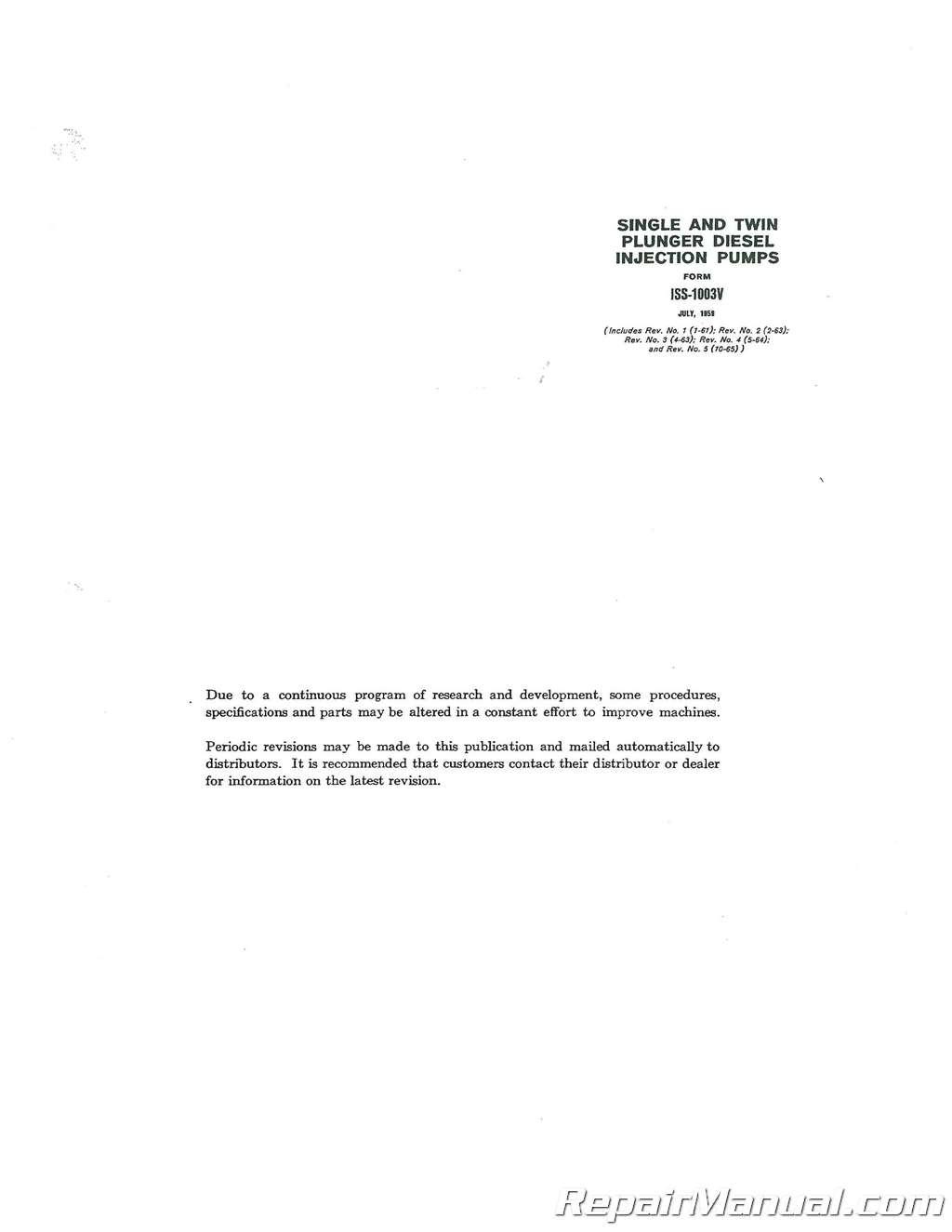 International Harvester TD-9 Crawler Diesel Pump Bosch Service Manual