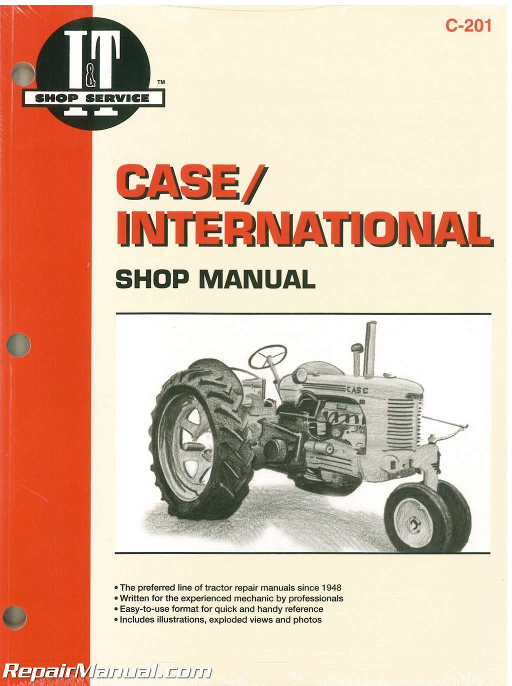 JI Case David Brown 200B, 300, 300B, 350, 400, 400B, 500B, 600B, 700B,  800B, C, D, L, LA, R, S, V and VA Tractor Repair Manual