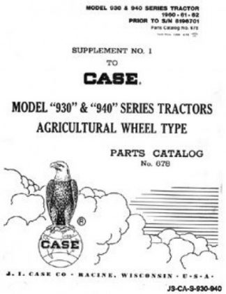 Case 930 and 940 Series SN Prior to 8196701 Tractor Factory Parts Manual
