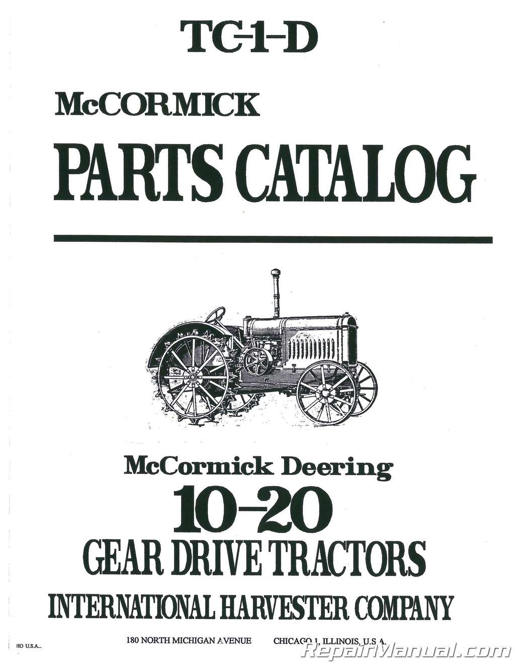 Heavy Equipment Manuals & Books FARMALL McCormick Deering 10-20 ...