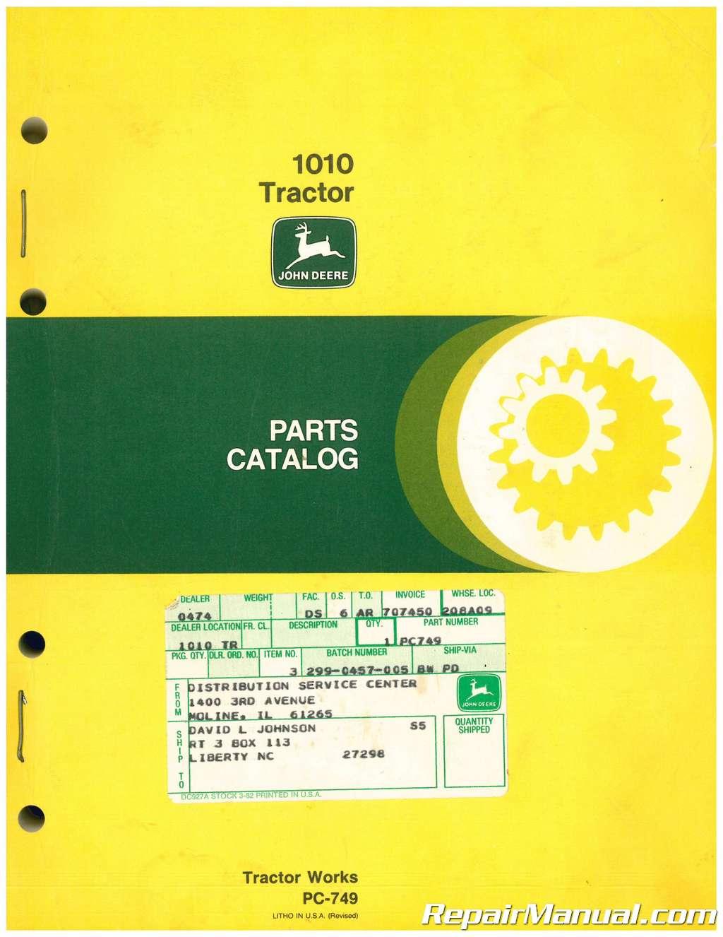 John Deere Parts Catalog >> Used John Deere 1010 Tractor Parts Catalog