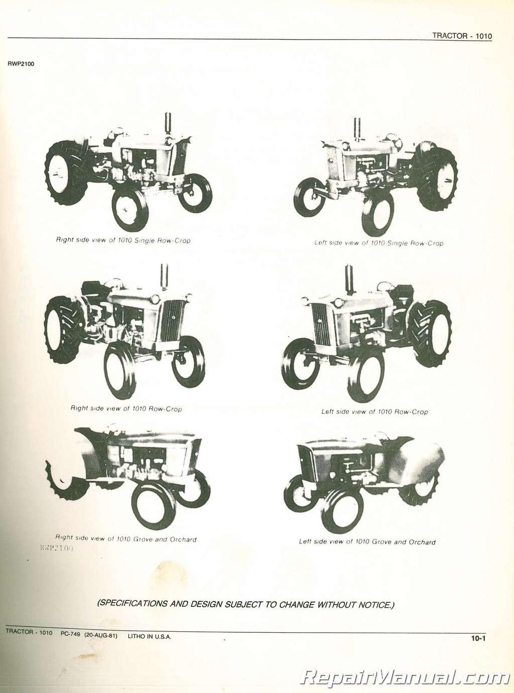 used john deere 1010 tractor parts catalog rh repairmanual com 1964 John Deere 1010 1963 John Deere 1010