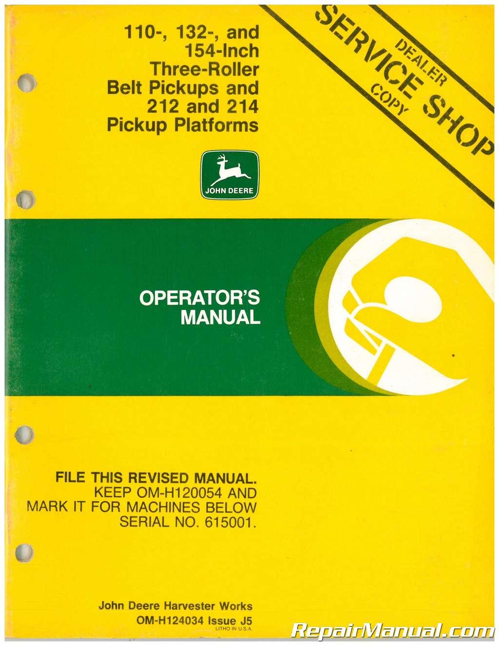 John Deere 110 Backhoe Owners Manual Best Deer Photos Water 214 Mower Deck Belt Diagram Car Interior Design 132 And 154 In Three Roller Pickups 212