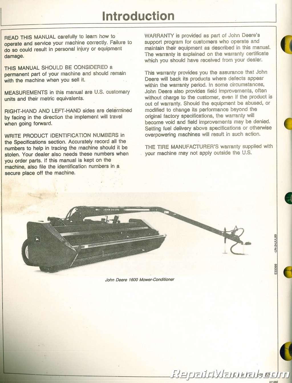 used john deere 1600 mower conditioner operators manual rh repairmanual com John Deere 1600 Turbo Aftermarket John Deere Mower Decks