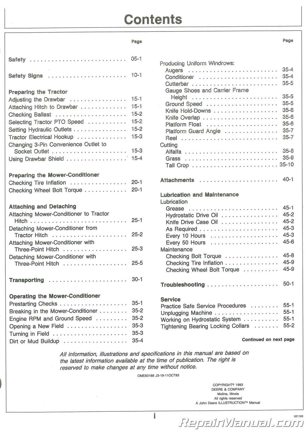 John Deere A Mower Conditioner Operators Manual