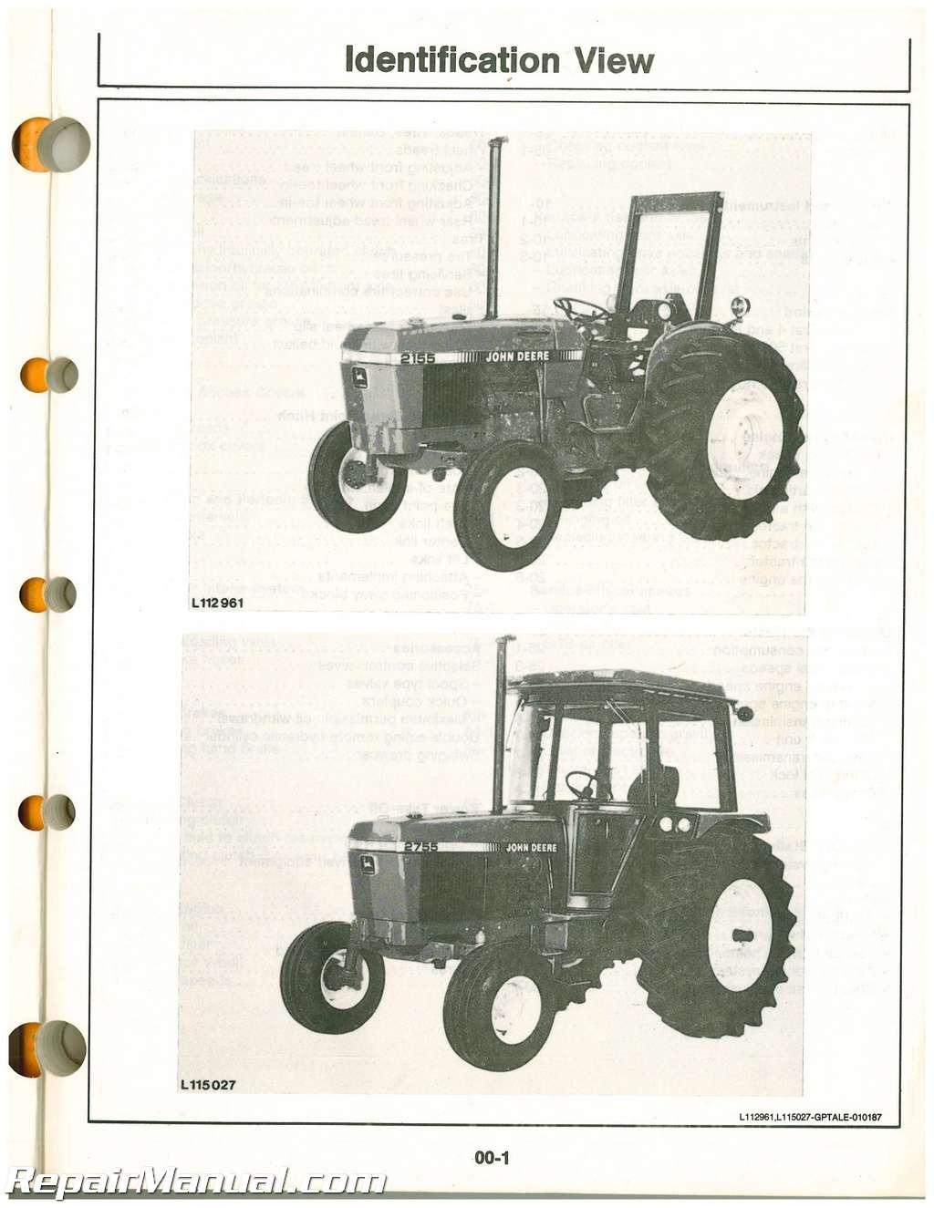 john deere 2155 wiring diagram free picture john deere 2155 2355 2555 and 2755 tractors operators manual ebay  john deere 2155 2355 2555 and 2755