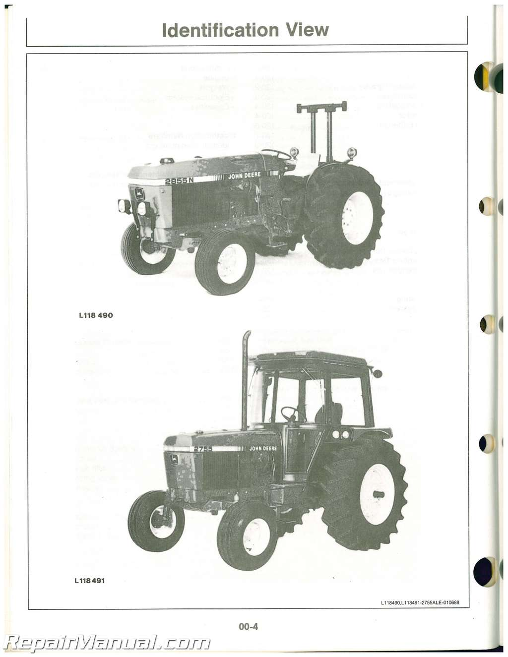 used john deere 2755 and 2855n tractors operators manual rh repairmanual com John Deere 2755 Tractor Parts JD 2555