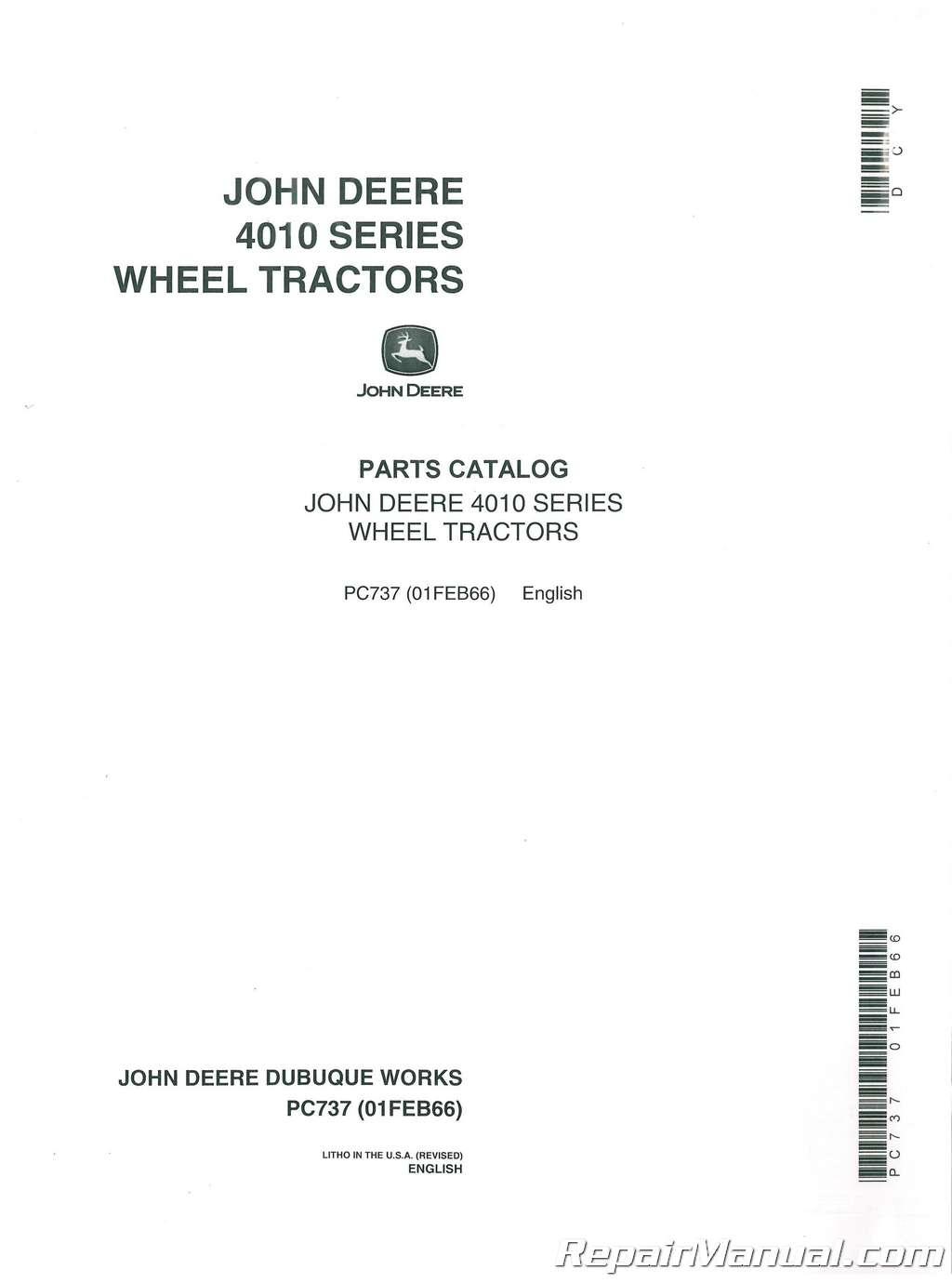 John Deere JD 4010 Series Tractors Parts Manual