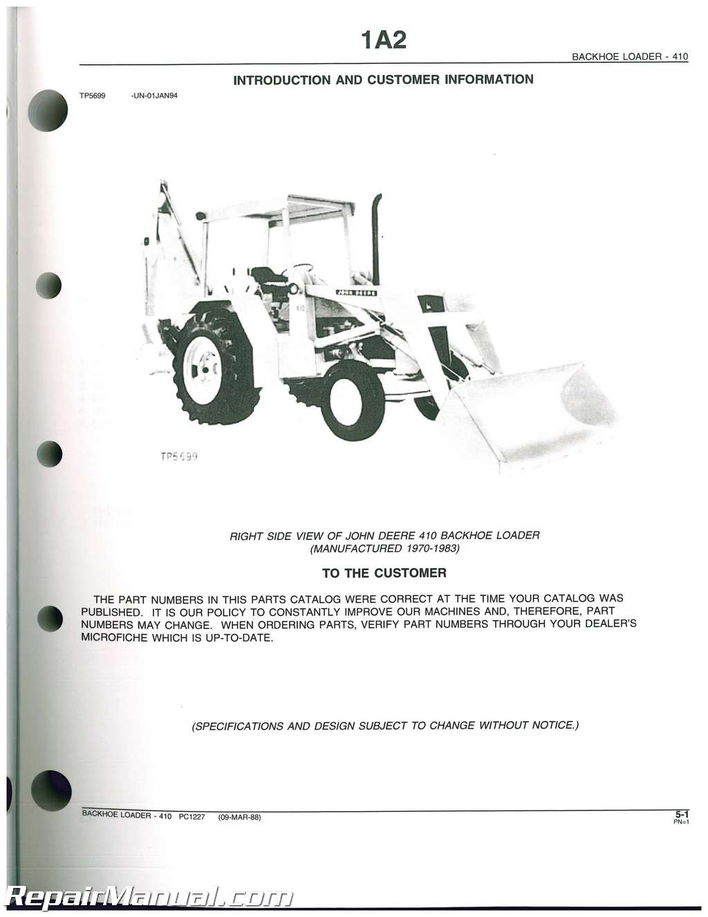 John Deere 410 Loader Backhoe Parts Manual Js Manual Guide