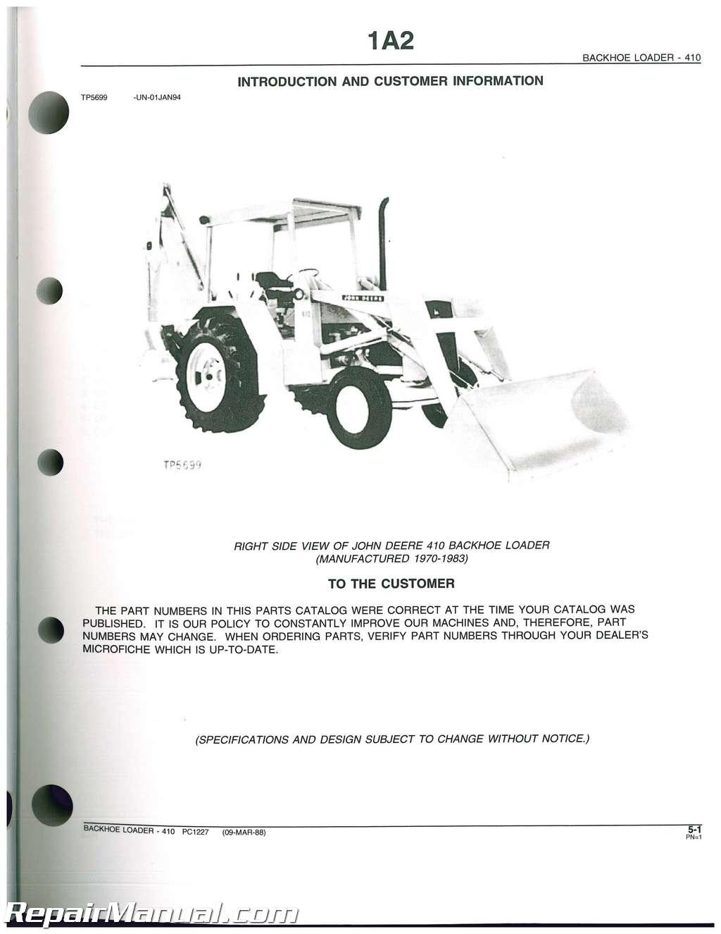 john deere 410 loader backhoe parts manual rh repairmanual com 410 John Deere Operator Manual 410 John Deere Owner's Manual