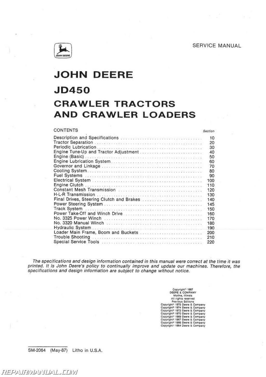 John Deere 140 Service Manual Best Deer Photos H3 Wiring Diagram 450 Crawler