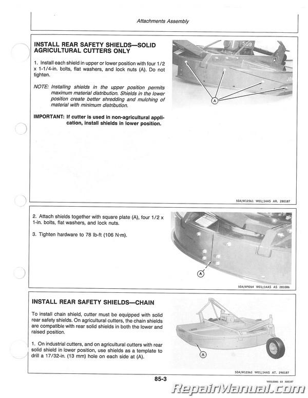 John Deere 509 609 709 Rotary Cutters Operators Manual