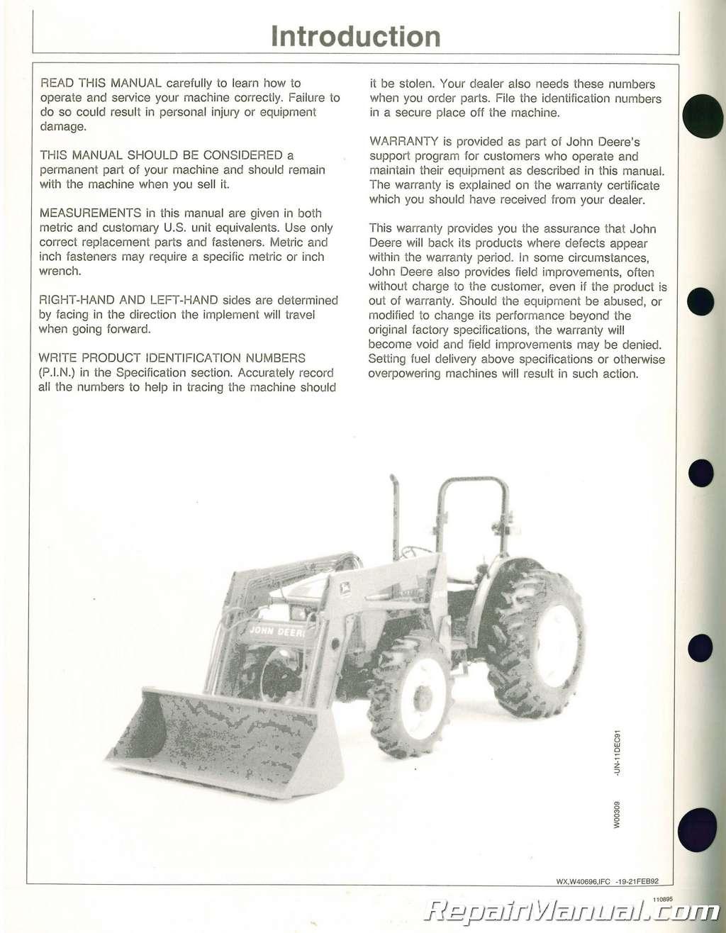 used john deere 520 540 loader operators manual rh repairmanual com John Deere GT225 Manual John Deere Parts Catalog