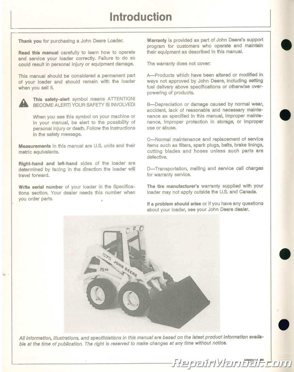 Used John Deere 575 Skid Steer Loader Operators Manual Issue E6