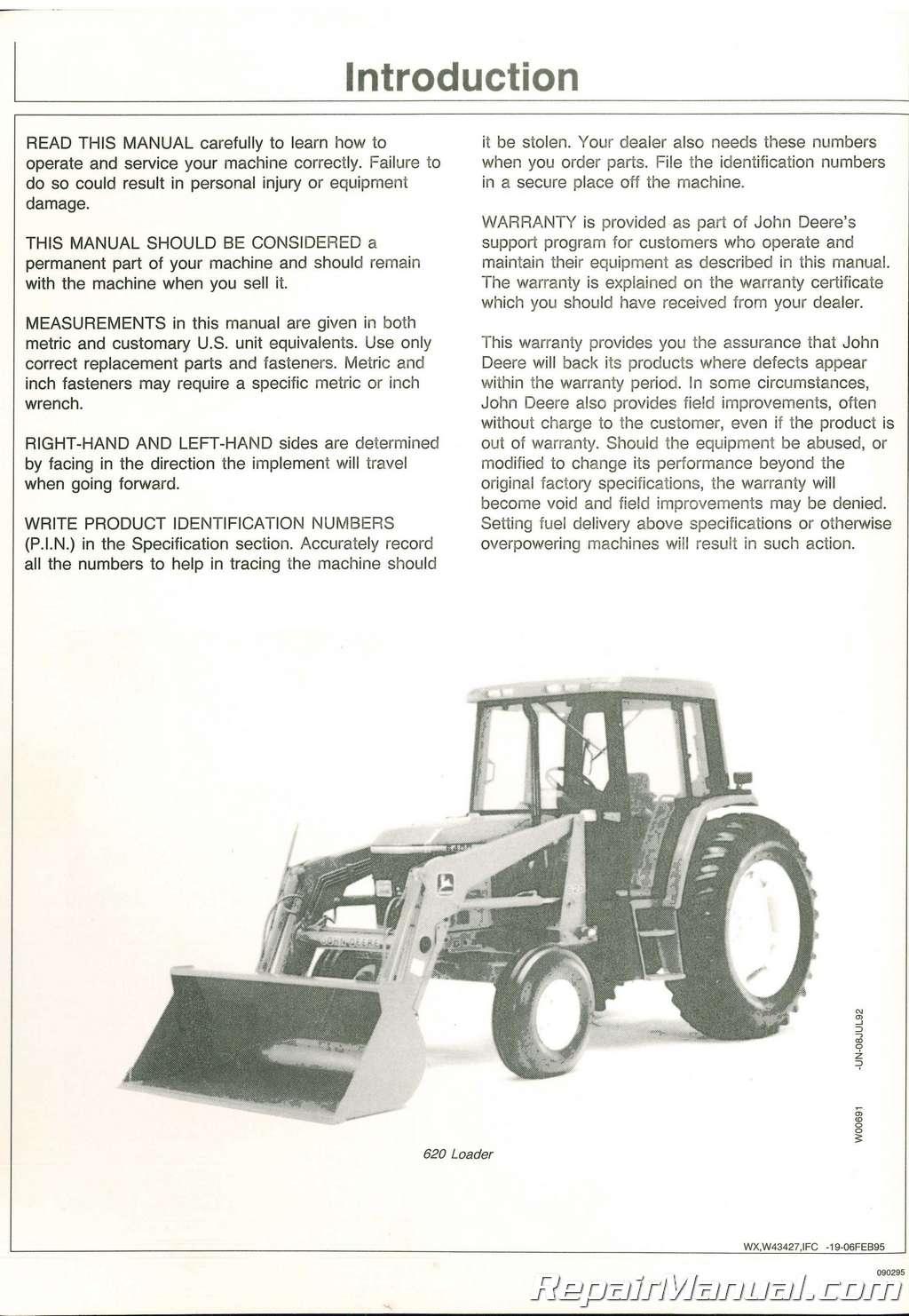 used john deere 620 720 725 loaders operators manual rh repairmanual com John Deere Lawn Tractor Manuals john deere 725 owners manual