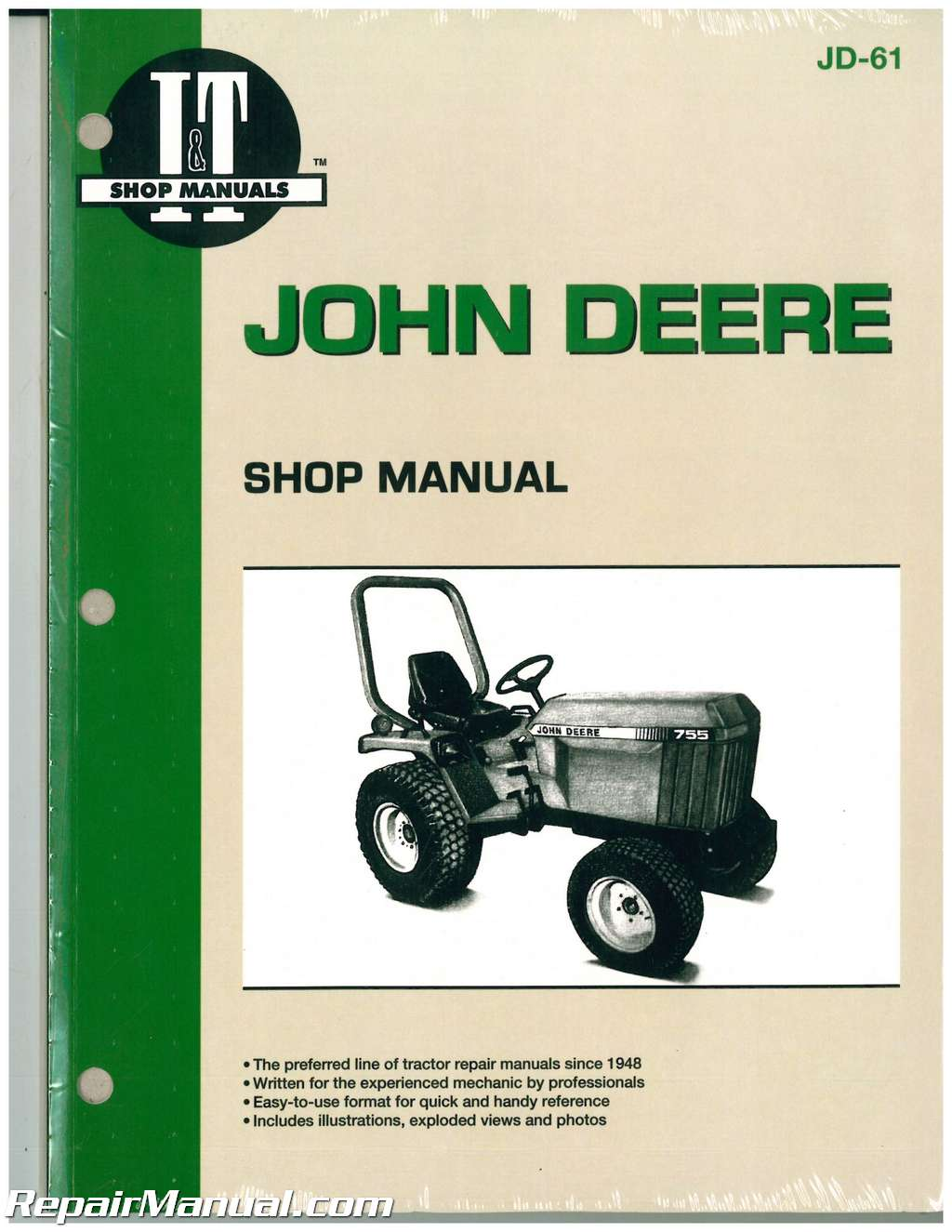 john deere 655 755 756 855 856 955 tractor workshop manual rh repairmanual com john deere repair manual 4310 john deere repair manuals online free