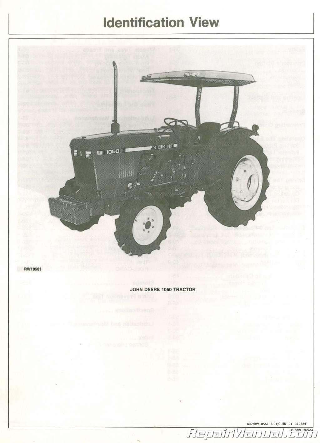 john deere 850 950 1050 tractor operators manual rh repairmanual com john deere 1050 manual online john deere 1050 tractor manual
