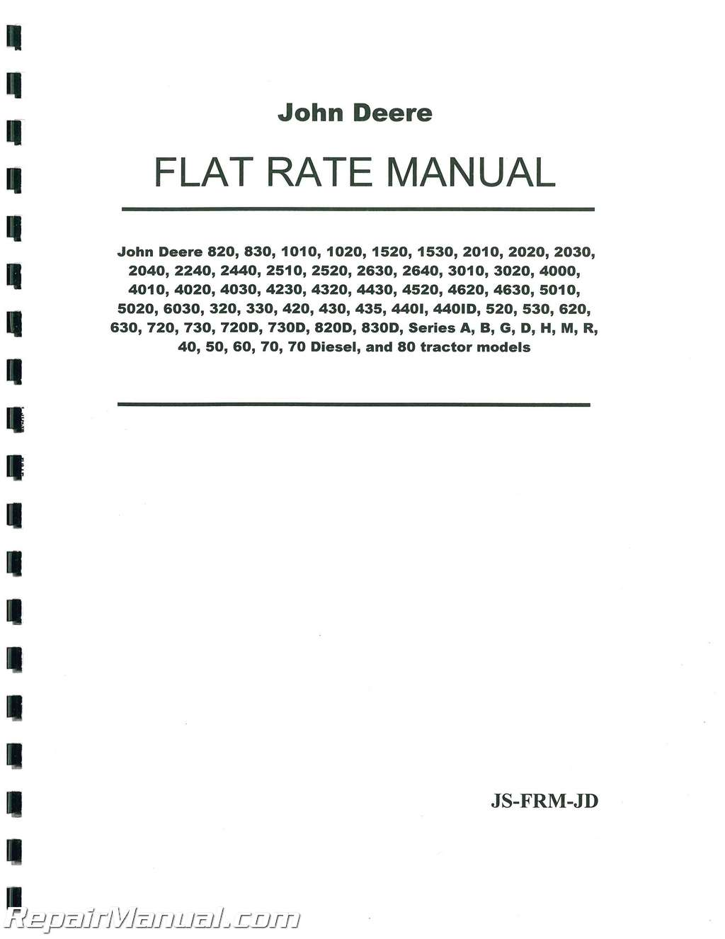 John Deere Tractor Flat Rate Manual