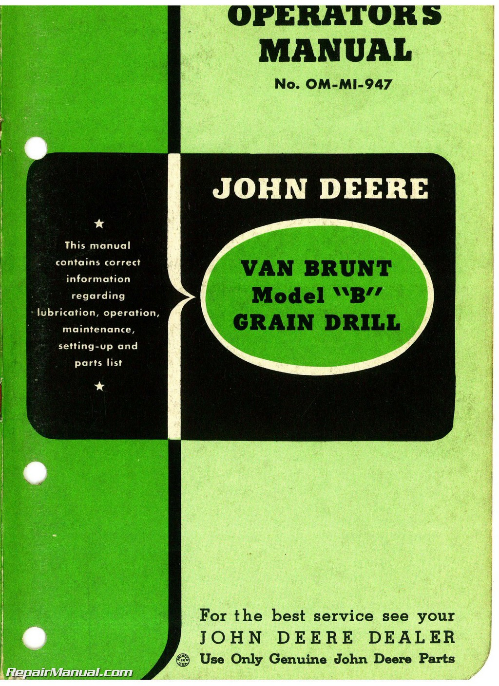 john deere van brunt model b grain drill operators manual parts manual rh repairmanual com john deere b service manual pdf free john deere b service manual free