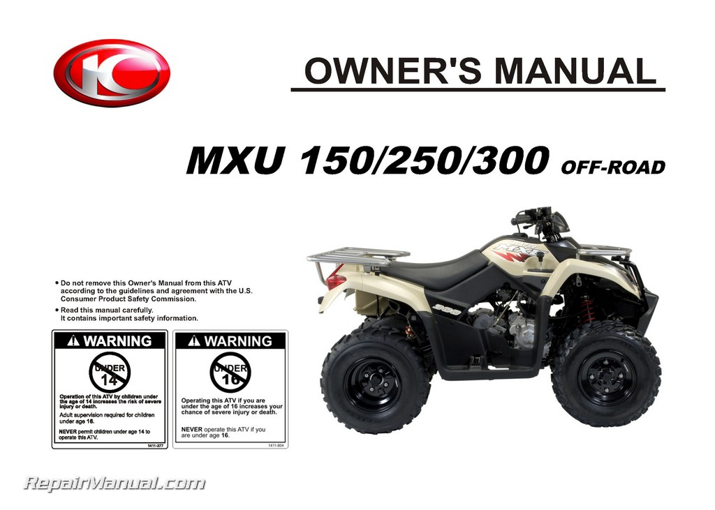 kymco mxu 150 250 300 off road atv owners manual. Black Bedroom Furniture Sets. Home Design Ideas