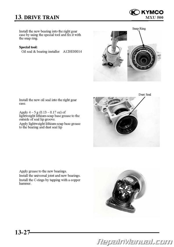 KYMCO MXU 500 ATV Swingarm Solid Rear Axle Service Manual Printed by  Cyclepedia
