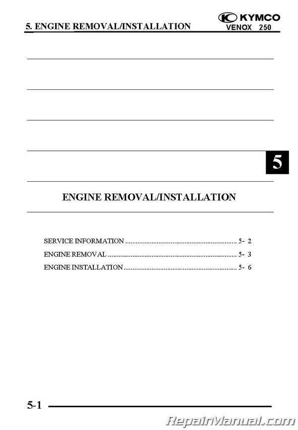 kymco venox service manual english