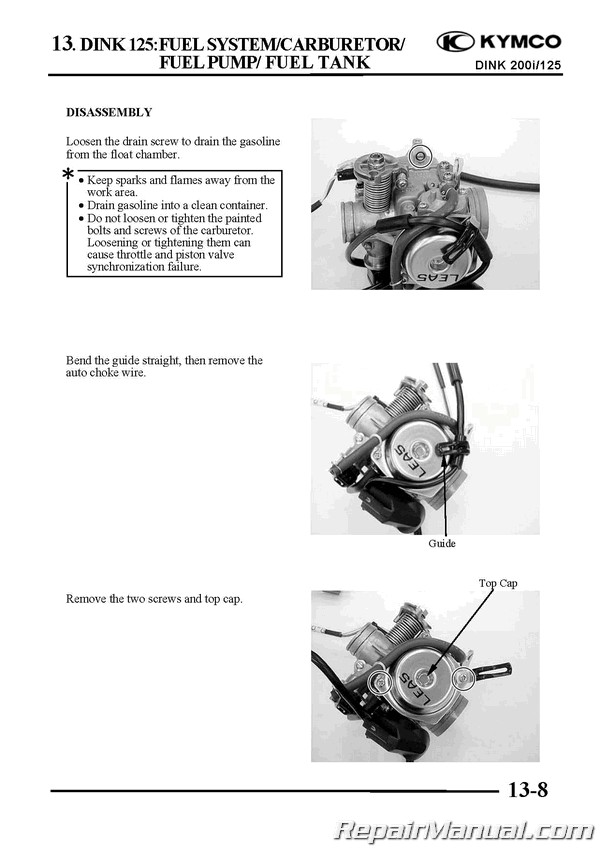 Kymco Yager    Dink 125cc 200cc Scooter Printed Repair Manual