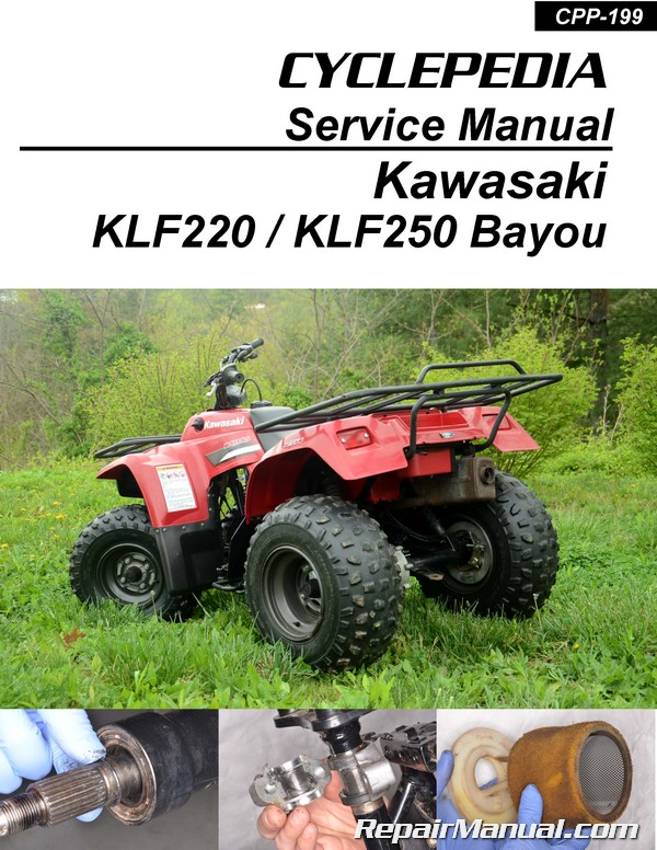 kawasaki bayou 220 250 klf220 klf250 printed cyclepedia atv service rh repairmanual com kawasaki atv repair manual kawasaki atv repair manual
