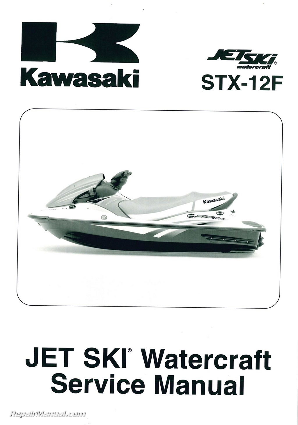 kawasaki jet ski watercraft service manual stx 12f jt1200 2005 2006 2007 rh  repairmanual com tiger shark jet ski repair manual honda jet ski repair  manual