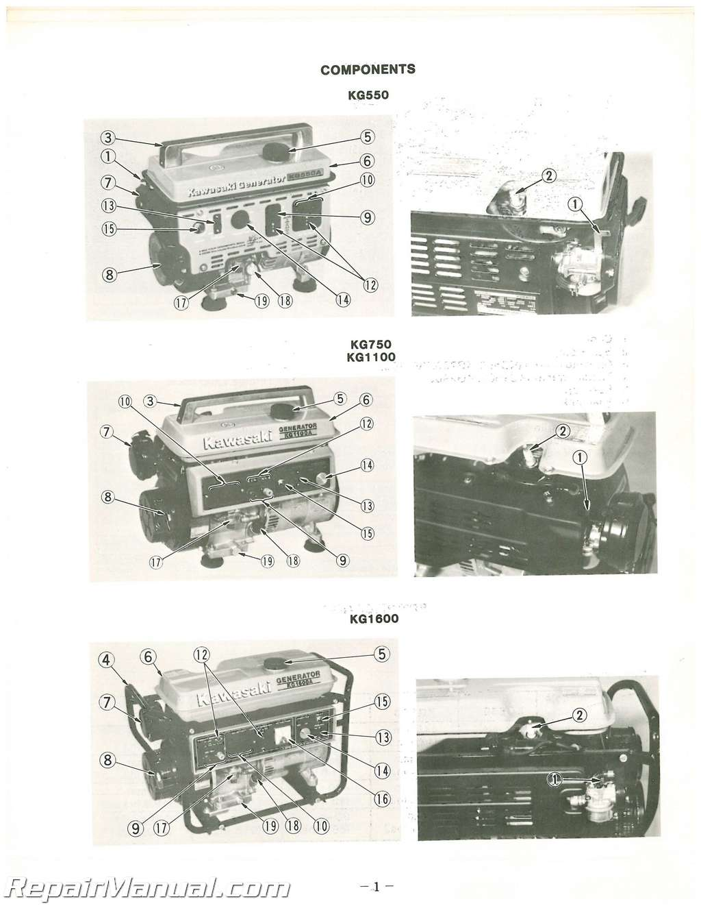 Kawasaki Portable Generator Manual