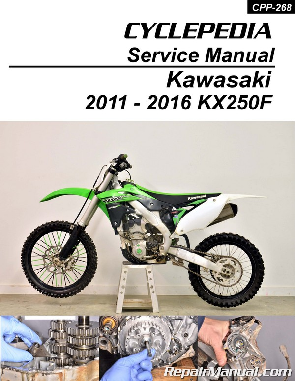 kawasaki kx250f cyclepedia printed motorcycle service manual 2011 2016 rh repairmanual com kawasaki kx250f manual 2005 kawasaki kx250f manual 2005