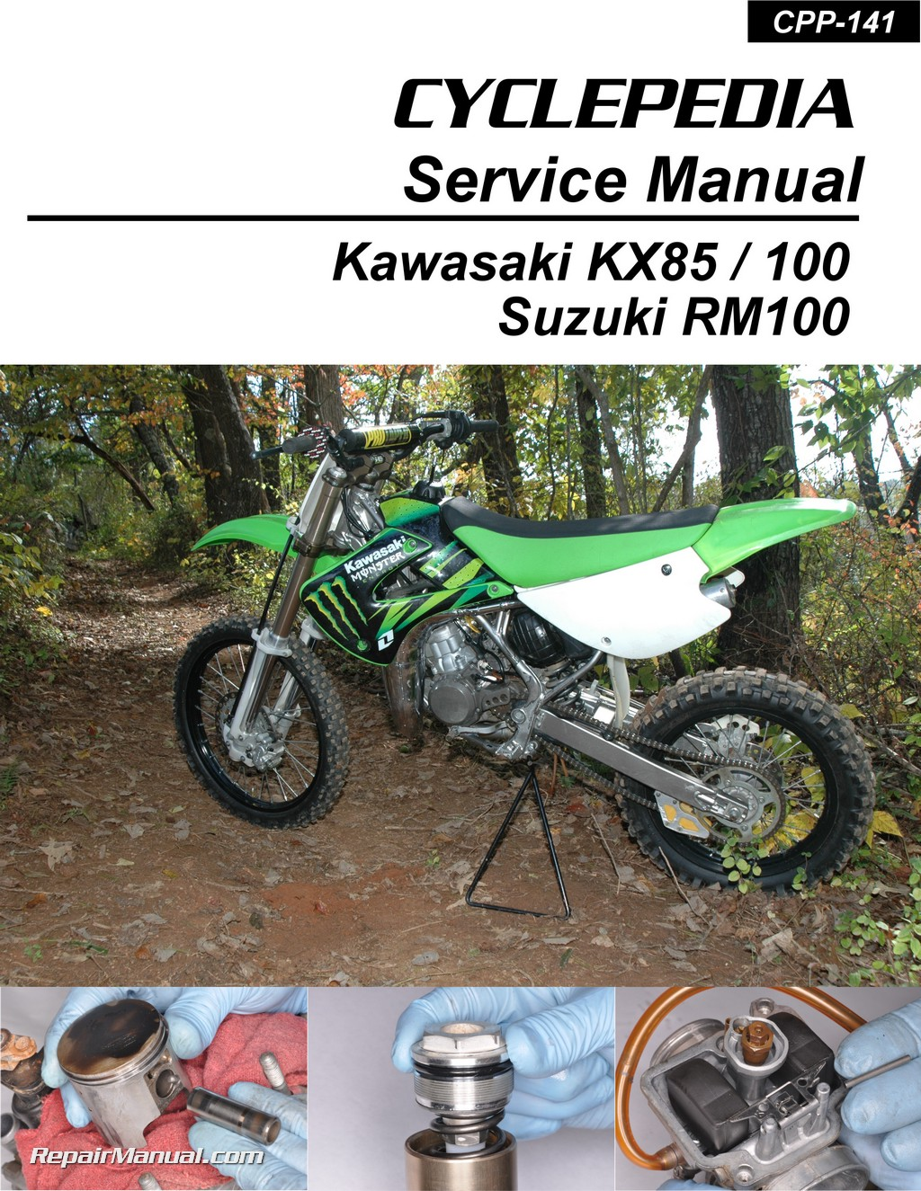 Kawasaki KX85 KX100 Suzuki RM100 Cyclepedia Printed Motorcycle Service  Manual