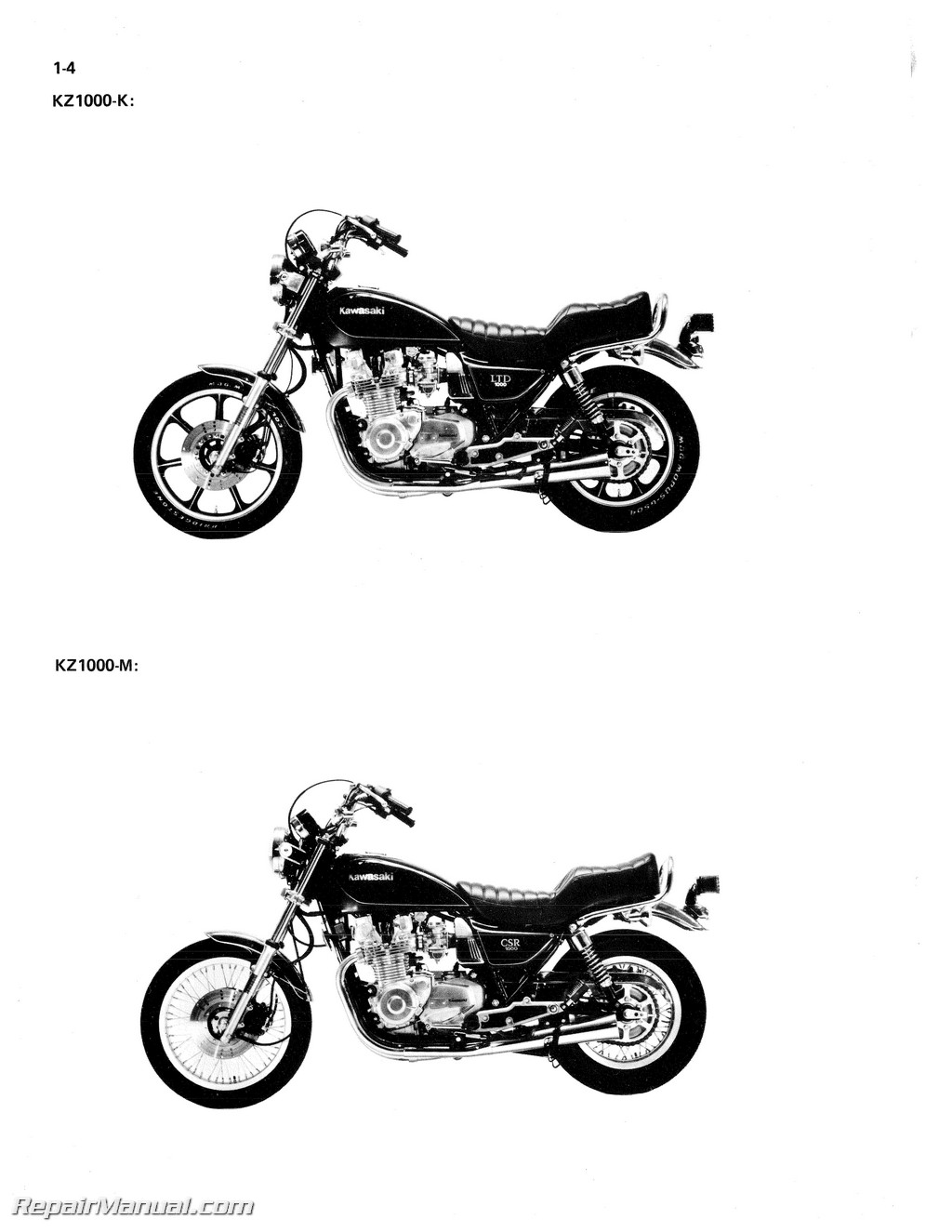 Kz1000 Csr Wiring Diagram And Schematics Power Wheels Motorcycle 1981 1982 Kawasaki Kz1100 Repair Service Manual Source