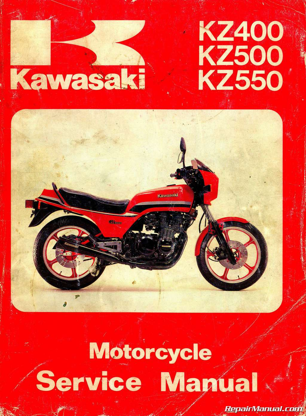 kawasaki kz400 kz500 kz550 motorcycle service manual rh repairmanual com 1979 kawasaki kz 400 manual kawasaki kz 400s manual