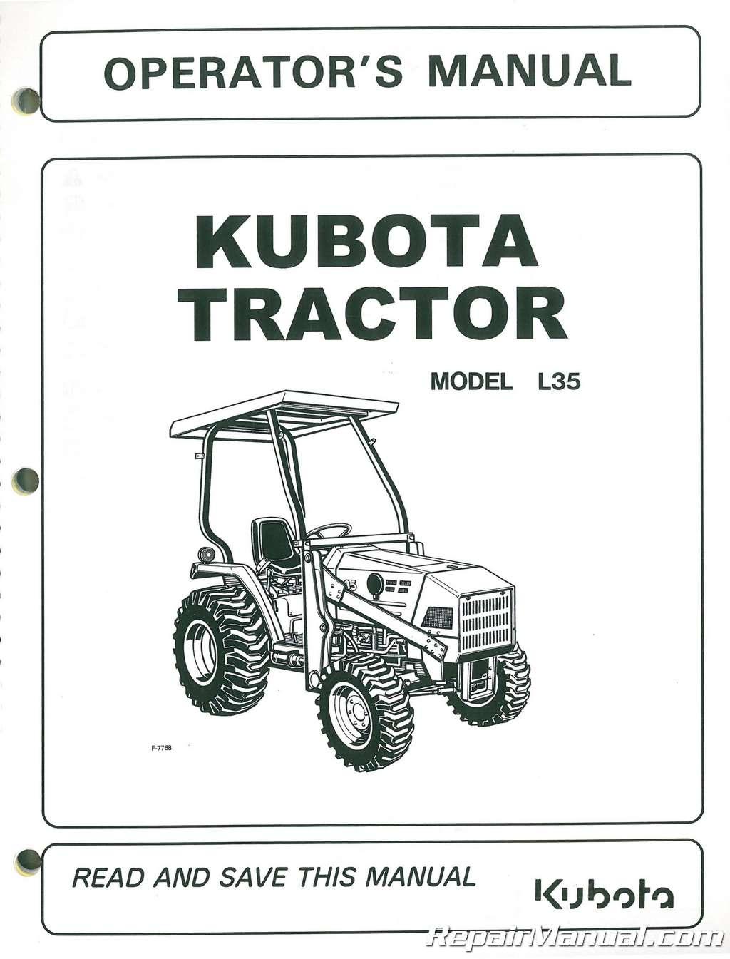 kubota l35 operators manual rh repairmanual com Kubota L2350 Tractor 1990 Sale Kubota Tractor Parts Diagram Online
