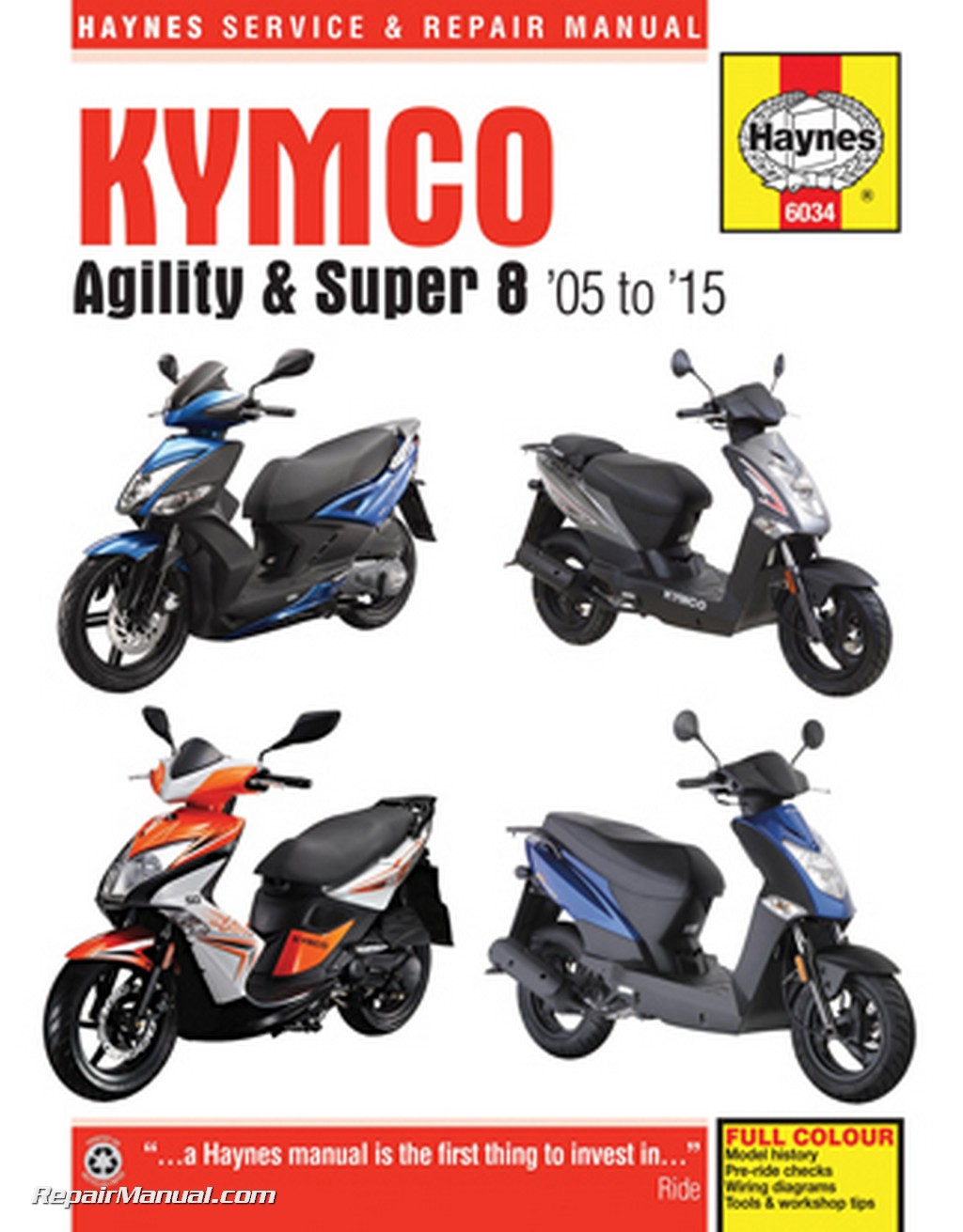 kymco 2005 2015 agility super 8 haynes scooter repair manual. Black Bedroom Furniture Sets. Home Design Ideas
