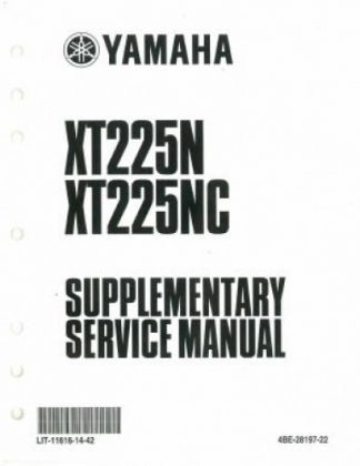 Used Official 2001 Yamaha XT225N NC Factory Service Manual Supplement