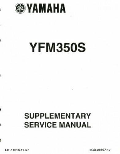 2004 Yamaha Yfm350s Service Manual Supplement