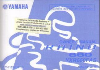 Official 2004 Yamaha YXR660FAS Rhino 660 Auto 4X4 ATV Owners Manual