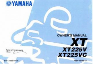 Official 2006 Yamaha XT225V Motorcycle Factory Owners Manual