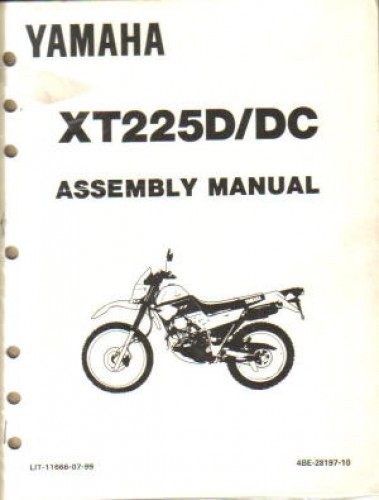 1992 yamaha xt225d dc serow assembly manual. Black Bedroom Furniture Sets. Home Design Ideas