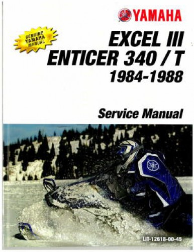 Official 1984 1988 Yamaha Enticer 340 T ET340 And Excel III EC340 Snowmobile Factory