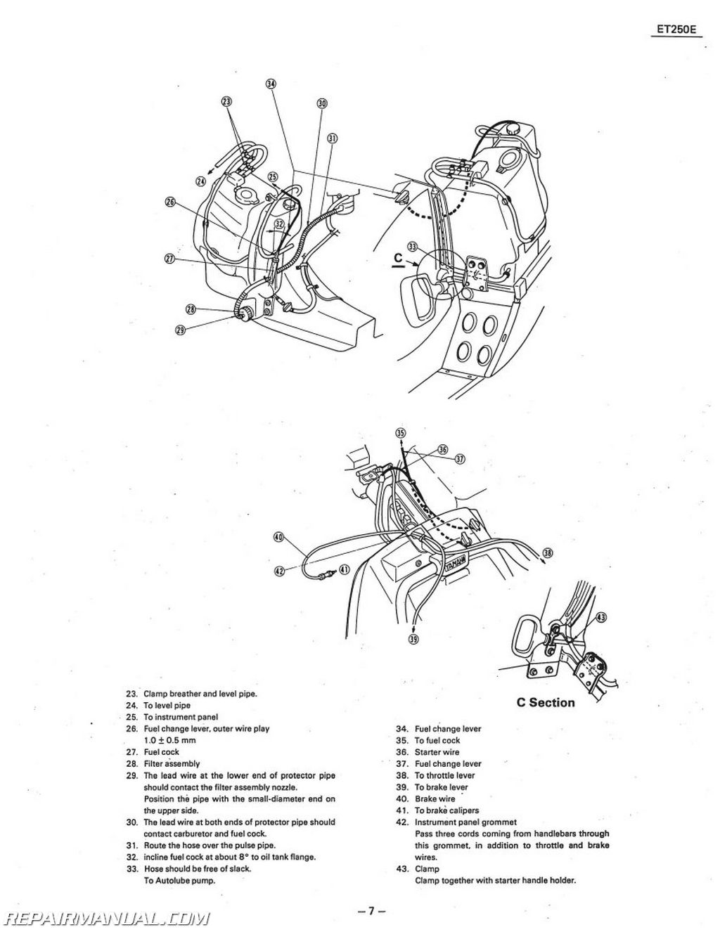 Yamaha Snowmobile Engine Diagrams Schematics Wiring Phazer Diagram Brake Light 1978 1981 Enticer Et250 Service Manual Rh Repairmanual Com Used Motors Oil