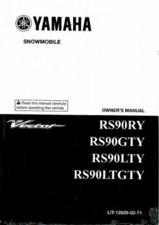 Official 2009 Yamaha RS90 RS Vector Snowmobile Owners Manual